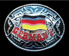 GERMANY GERMAN COUNTRY FLAG METAL BELT BUCKLE WORLD WESTERN  BOUCLE DE CEINTURE