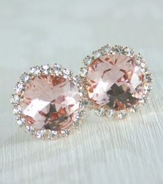 Blush pink crystal earrings Rose gold bridal
