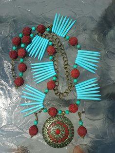 turquoise howlite, turquoise, lava beads, tribal pendant