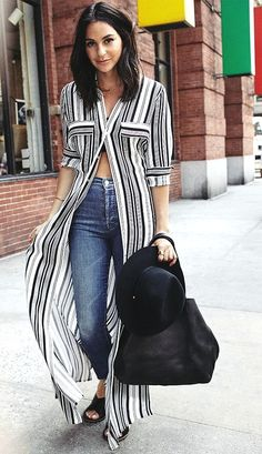 striped button down dress, high waisted denim