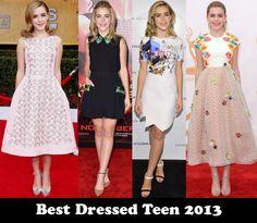 Best Dressed Teen 2013 – Kiernan Shipka - Red Carpet Fashion Awards