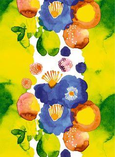 Juhannustaika-kangas (valkoinen, sininen, vihreä, pu) |Kankaat, Puuvillakankaat | Marimekko