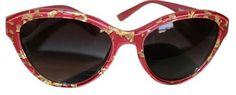 $179 Dolce&Gabbana Dolce and Gabbana GOLDEN LEAVES Maroon Cat Eye Sunglasses