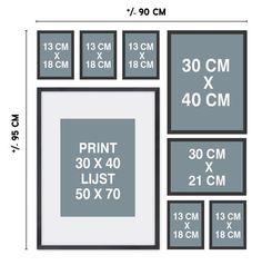 stramien muurcollage met fotolijstjes en posters