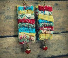Bohemian Fiber Earrings Upcycled Jewelry Gypsy от PrimitiveFringe