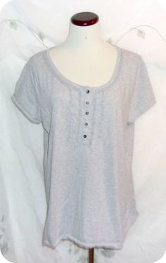 Faded Glory Womens Top Plus Size 2X Gray Grey Short Sleeve Pullover Cotton #FadedGlory #KnitTop #CareerCasual #Fashion #Clothing #Womens #Plussize #Top #Size2X