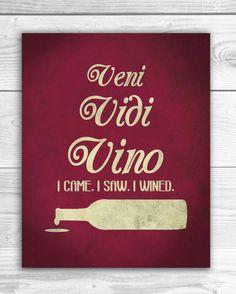 Funny Wine Art Print Veni Vini Vino Wine by SmartyPantsStudio, $16.00