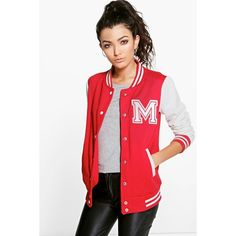 Boohoo Ella Varsity Bomber Jacket (€32) ❤ liked on Polyvore featuring outerwear, jackets, red, red puffer jacket, duster coat, puff jacket, red varsity jacket and varsity style jacket