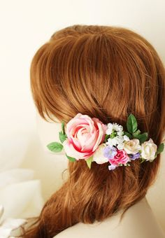 Bridal flower hairpiece Flower hair comb wedding by GadaByGrace