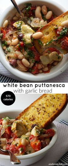 Healthy Meals White Bean Puttanesca, delicious nutritious and hearty meal - White Bean Puttanesca Recipe with a quick garlic bread recipe too! Easy and healthy! Veggie Recipes, Soup Recipes, Whole Food Recipes, Vegetarian Recipes, Cooking Recipes, Healthy Recipes, Hamburger Recipes, Veggie Food, Pepperoni Recipes