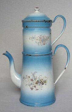 Rare Antique Vintage French Enamel Biggin Coffee Pot ~ Blue Shading with Flowers | eBay