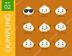 Free Vector | Mascot images of the cute dumpling. set. Resources Icon, Dumpling, Vector Free, Snoopy, Cartoon, Abstract, Cute, Fictional Characters, Summary