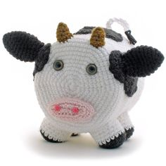 """""""SIMON COW"""" CROCHETED TOILET PAPER COVER ♦ Pattern in """"Amigurumi Toilet Paper Covers: Cute Crocheted Animals, Flowers, Food, Holiday Decor and More"""" by Linda Wright. http://amazon.com/dp/0980092361/"""