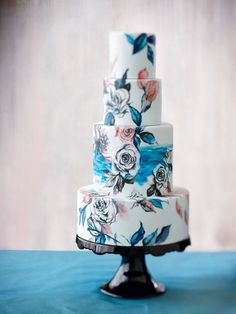 These hand-painted roses and leaves. | 27 Gorgeous Wedding Cakes That Are Almost Too Pretty To Eat