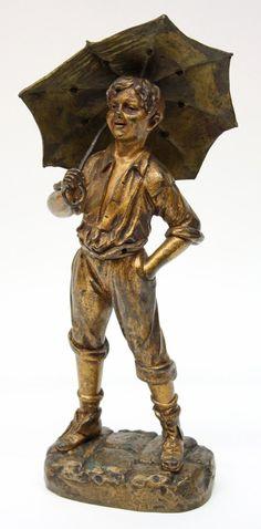 Bronze sculpture after Georges Omerth (fl. 1895-1925), Umbrella boy, 14''h signed on base