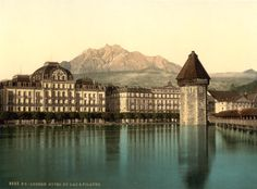 A photograph of one of the most elegant hotels in Switzerland, on the shores of Lake Lucerne.
