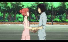 Akira and Saki right before their big kiss aaww