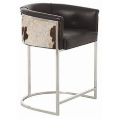 A little bit country, and a little bit rock n' roll  love this cowhide and polished nickel barstool