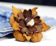 Magnetic lapel pin, Handmade chocolate and tobacco leather flower /boutineer/ brooch with silk covered magnetic button back. .by ModernRenaissanceMan, $25.00