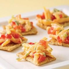 Eating Well's Pimiento Cheese - under 50 calories per 2 Tablespoons serving.  TIP: Don't like mayo? Use plain Greek yogurt, low fat sour cream or even low fat cottage cheese.  I've tried all three and they are great.