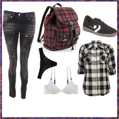 """plaid"" by batman-nat on Polyvore. I want this backpack"