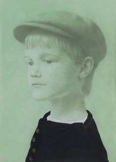 Henry's Glance by Koo Schadler. Silver point,  ink, egg tempura and white gouache on green toned paper
