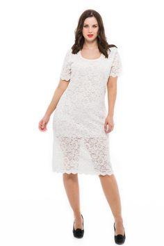 851b338967 Fehér csipkés alkalmi ruha esküvőre, partykra, szilveszterre. Ez a csipkés alkalmi  ruha teltkarcsúaknak