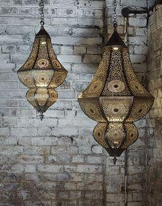 Moroccan Asni Pierced Antique Brass Hanging Lamp