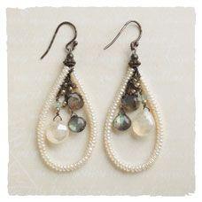 labradorite, sterling moonstone earrings