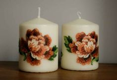 Decoupage candles with flowers / Handmade by Taja My Works, Pillar Candles, Decoupage, Adidas, Flowers, Handmade, Hand Made, Craft, Flower
