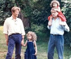 Derek Boshier and his daughters Lily + Rosa with David Bowie in the UK early 90s