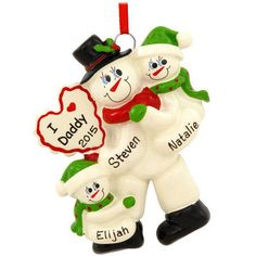Personalized I Love Daddy With 2 Children Ornament