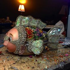 Beaded fish under construction. Betsy Youngquist 2015. www.byart.com