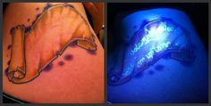 A Maurader's Map tattoo that is blacklight activated!  - Contrariwise: Literary Tattoos