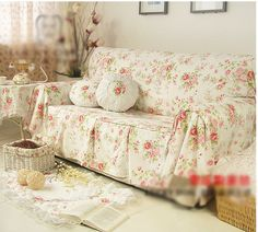 Shabby Chic Cottage Floral Sofa Couch Cover Pleats 2 Seaters White