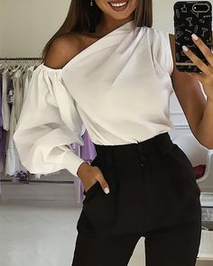 Solid One Shoulder Lantern Sleeve BlouseYou can find One shoulder and more on our website.Solid One Shoulder Lantern Sleeve Blouse Trend Fashion, Womens Fashion, Blouse Outfit, Blouse Online, Pattern Fashion, Blouse Designs, Camouflage, Blouses For Women, Fashion Dresses