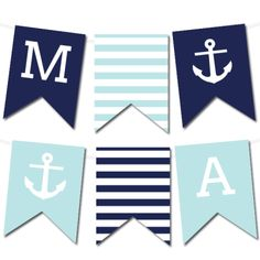 Free Nautical Printable Wedding Pennant Banner from @chicfettiwed