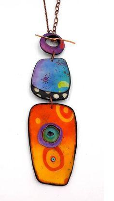 Polymer clay pendant by danielle Metal Clay Jewelry, Ceramic Jewelry, Enamel Jewelry, Jewellery, Polymer Clay Necklace, Polymer Clay Pendant, Polymer Clay Art, Precious Metal Clay, Paperclay