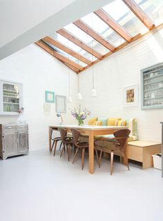 Nice, bright kitchen, thanks to a bank of skylights.