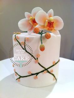 """Orchid mini cake...4"""" dummy cake (© House of the Rising Cake You may not reproduce, blog, borrow, alter or use this photo without written consent from the artist.) Feel free to repin but please link back to my website. Thank you."""