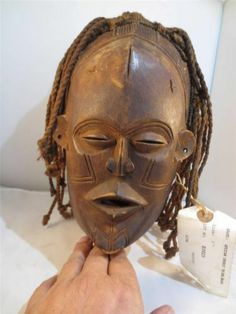 """CHOKWE Pwo MASK Carved Wood Zaire Mask fine detail. 10"""" x 7"""" early 20th Century"""