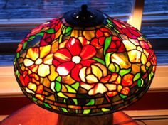 """Peony Lamp, 18"""" (Tiffany Reproduction) - by Glass Fusion Studios of VT"""
