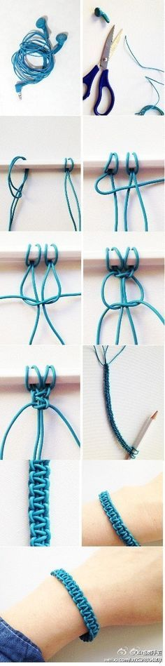 DIY耳机线手链手工教程~,Handmade Jewellery ,jewelry , Homemade Accessories , Fashion, DIY, Cool Teen Crafts necklace, tut, tutorial, how to, girls , woven chain bracelet, macrame, knotting, braiding, knot, braid, string