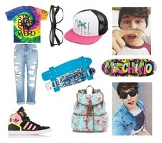"""""""SKATING WITH JC CAYLEN"""" by candygirl156 ❤ liked on Polyvore featuring adidas Originals, Genetic Denim, Moschino, Candie's and Volcom"""
