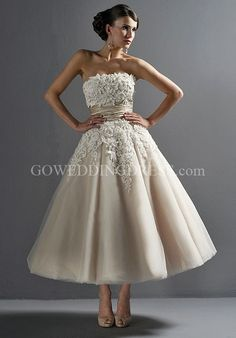 Strapless Tea Length Tulle/ Dupioni Beading/ Embroidery Wedding Dress Style 8465