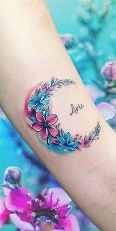 floral moon tattoo © tattoo artist Adrian Bascur ❤🌛🌺❤🌛🌺❤🌛🌺❤🌛🌺❤