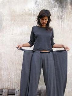 Unique pantalon de Jeans/Pantalons-Origami Womens gris / par SHIHAR