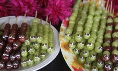 healthy and fun snack!  Mommy and baby caterpillars kabobs