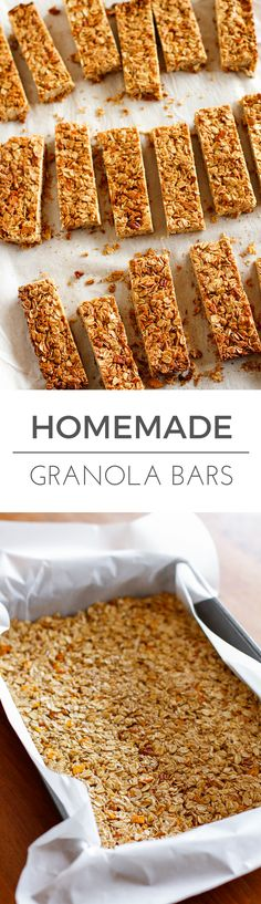 Homemade Granola Bars -- these crunchy homemade granola bars are a tasty and healthy snack... Customize the dried fruits and nuts to make them your own! Plus 4 more fab after school healthy snacks... | via @unsophisticook on unsophisticook.com
