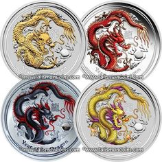 Australia 2012-P Dragon Special Bonus Discount 4-Pack #4 - Coin Show Special Yellow Dragon, Black Dragon, Red Proof Dragon, and Gilded Dragon - Year of the Dragon Chinese Lunar Zodiac $1 1 Ounce Pure Silver Dollars Proof Set with Color